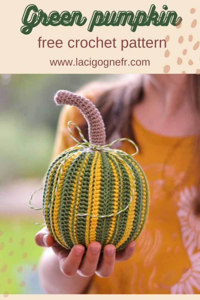 Green pumpkin Crochet pattern Lacigogne design , Thanksgiving home decor